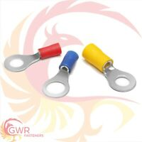 RING ELECTRICAL TERMINALS RED BLUE YELLOW WIRE CRIMP CONNECTORS INSULATED FEMALE