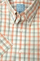 Jos A Bank Men's Stay Cool Orange & Gray Check Cotton Casual Shirt S Small