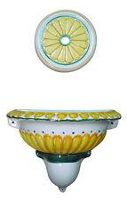 FONTANA rosone giallo/verde DECORATA in ceramica A PARETE da GIARDINO