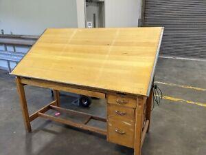 Vintage Wooden Oak Drafting Desk  4-Post Drawing Table Model 221-A