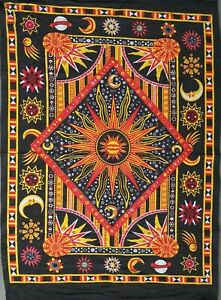 Beautiful Poster Burning Sun Small Textile Cotton Wall Hanging Indian Tapestry