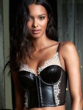 Victorias Secret Lace And Faux Leather Corset And Garter Belt 32C Small Black