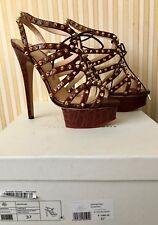 CHARLOTTE OLYMPIA Chestnut Studded Platform Sandals size 37