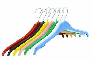 Pack of 10 Plastic Tops Hangers with Anti-Slip Rubber - 41cm