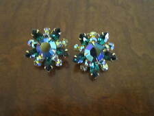 BEAUJEWELS, Gold-Tone, Green AB Rhinestone Cluster, Clip-On Earrings