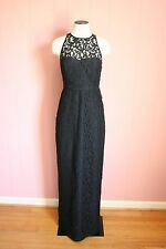 JCrew Pamela Long Dress in Leavers Lace 0 Black Gown $298 C5557 NWT