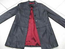 Ladies M&S long line black real leather JACKET COAT UK 8 retro goth red lining