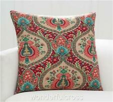 """NEW Pottery Barn Darcy RED Paisley Floral Medallion Velvet Pillow Cover 24"""""""