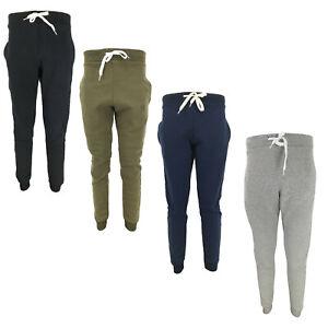 Mens Jogging Bottoms Fleece Lined Plain Jogging Pants Gym Fitness Sports Trouser
