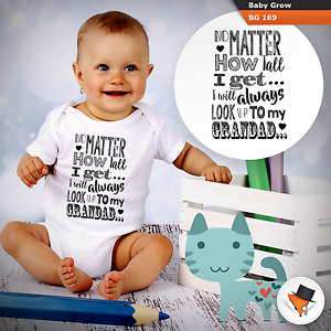 I will always look up to Grandad baby grow babysuit Fathers Day gift Birthday