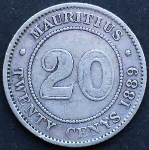 MAURITIUS, 20 CENTS 1889, QUEEN VICTORIA, SILBER