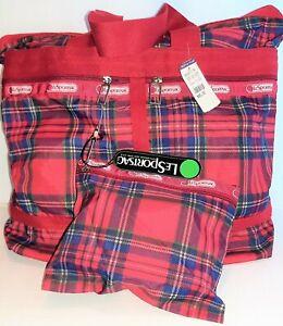 LeSportSac Vintage NEW w/Tags & Mini Bag Red Plaid Purse Med Travel Tote 90s