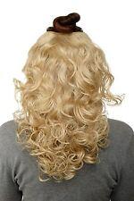 Postiche Demi-Perruque Clip-In Extensions Cheveux Boucles Blond Clair 40cm