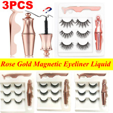 Rose Gold Magnetic Eyeliner Liquid & Lashes Kit-Set Mink Eyelashes Natural Long