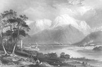 Scotland, BEN NEVIS MOUNTAIN Fort William Loch Linnhe ~ 1836 Art Print Engraving