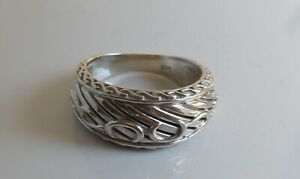 Sterling Silver Raised Design Graduated Band Ring UK Size L½  US 6  5.4 grams
