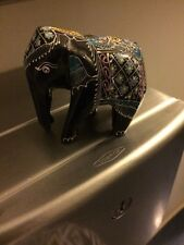 WOODEN ELEPHANT BLACK LACQUER BODY ~  HAND-PAINTED
