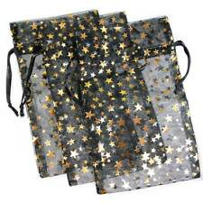 3-PAK__DECORATIVE ORGANZA GIFT JEWELRY POUCHES BLACK w/GOLD STARS