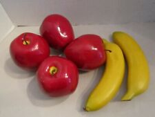 Faux Fruit 2 Banana 4 Red Apple Staging Home Decor Artificial Set Props Lot Of 6
