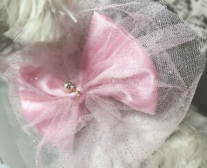 Cute Pet Dog Cat Necklace Bling Rhinestone Pearl Collar Accessories Small Puppy