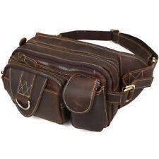 Vintage Leather Men Large Bum Waist Fanny Pack Work Shoulder Bag Travel Backpack