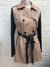 Atmosphere Mac Coat Size 14 Beige Black Faux Leather Sleeves Belted Jacket