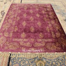 Yilong 5.5'x8' Hand Knotted Silk Area Rug All Over Living Room Carpets 1555