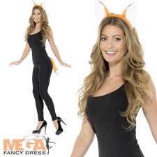 Adult Fox Kit Ladies Fancy Dress Ears Tail Animal Farm Womens Costume Accessory
