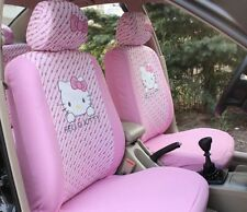 NEW 2017 6Pcs Light Pink Hello Kitty Car Seat Cover Front Interior Accessories