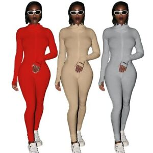 Knitted Bodycon Playsuit Women Overall Long Sleeve Full Length Romper Jumpsuit