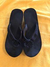 LINDSAY PHILLIPS SWITCHFLOPS Size 10 All black Floral Flip Flops Sandals Shoes