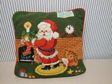 "Santa Claus Needlepoint Pillow Christmas Fireplace Scene 14"" X 14"" Red Velour"