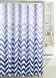 Fabric Shower Curtain Ombre Zig Zag Chevron Print with Reinforced Grommet, SC-02
