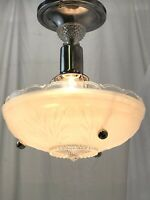 Vtg Art Deco 1920s 30s 40s Semi Flush Mount Ceiling Fixture Frosted Glass Shade