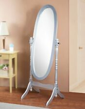 New ListingTraditional Queen Anna Style Wood Floor Cheval Mirror, Silver Finish