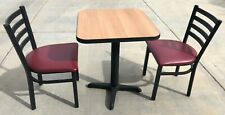 ELECO Table & Chairs: Table 24x24x29, 2 Chairs 17x17x18, Black Metal Frame