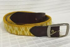 VGUC Men's VTG Mustard Yellow NEEDLEPOINT Belt woven Wool on Leather Golf 33