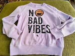 Abercrombie Kids-NO BAD VIBES flip sequin sweatshirt size 7/8