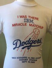"""Vintage White 1980s T Shirt IBM 1963 LA Dodgers V 1981 Dodgers 1986 34"""" S"""