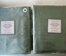 "Restoration Hardware THAI SILK TONAL STRIPE Drape 50"" x 96""~Set of Two~LSSG~NWT"