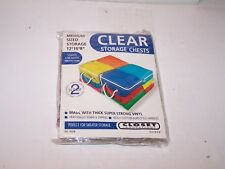 "NIP new 2 pack 12 X 16 X 8"" medium size clear Storage Chests thick strong vinyl"