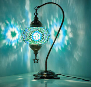 Turkish Moroccan Mosaic Colorful Table Bedside Desk Lamp Lampshade Turquoise