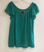 Ladies Embellished Printed Plus Size Fluted Sleeve Tunic Top Blouse 1X-2X-3X NWT