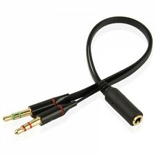 3.5mm Female to 2 Male Headphone Mic Audio Splitter Adapter Cable Laptop PC 20cm