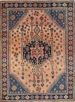 Antique Oriental Brown Tribal Sirjan Hand-Knotted 5x7 Wool Area Rug
