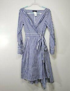 Weekend Max Mara Womens Dress 10 Vanesio Striped Poplin Wrap Belt Blue White