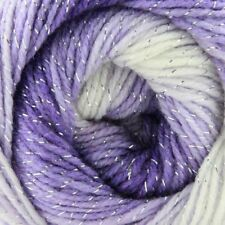 Purple White Sparkle Swirl Batik Silver Glitter Yarn wool crochet knitting DK