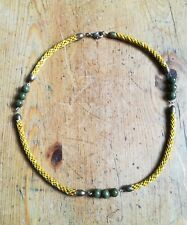 VINTAGE Green agate bead yellow silky rope brass choker necklace 20 inch