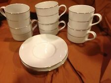 Lynns Stoneware Coffee Cup Valentine White w/gold Stripes, 5 cups/2 saucers