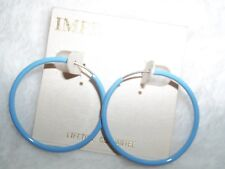 """IMPRESSIONS JEWELRY"" DESIGNER Earrings, Blue Hoops, BRAND NEW"